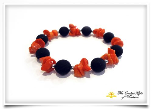 Lava bracelet 9 with coral