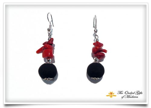 lava earrings 4 with red coral beads
